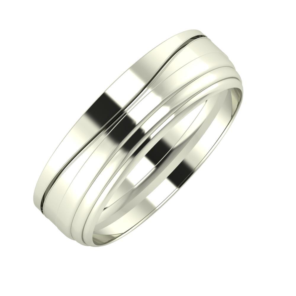 Adelinda - Aina 6mm 18 karátos fehér arany karikagyűrű