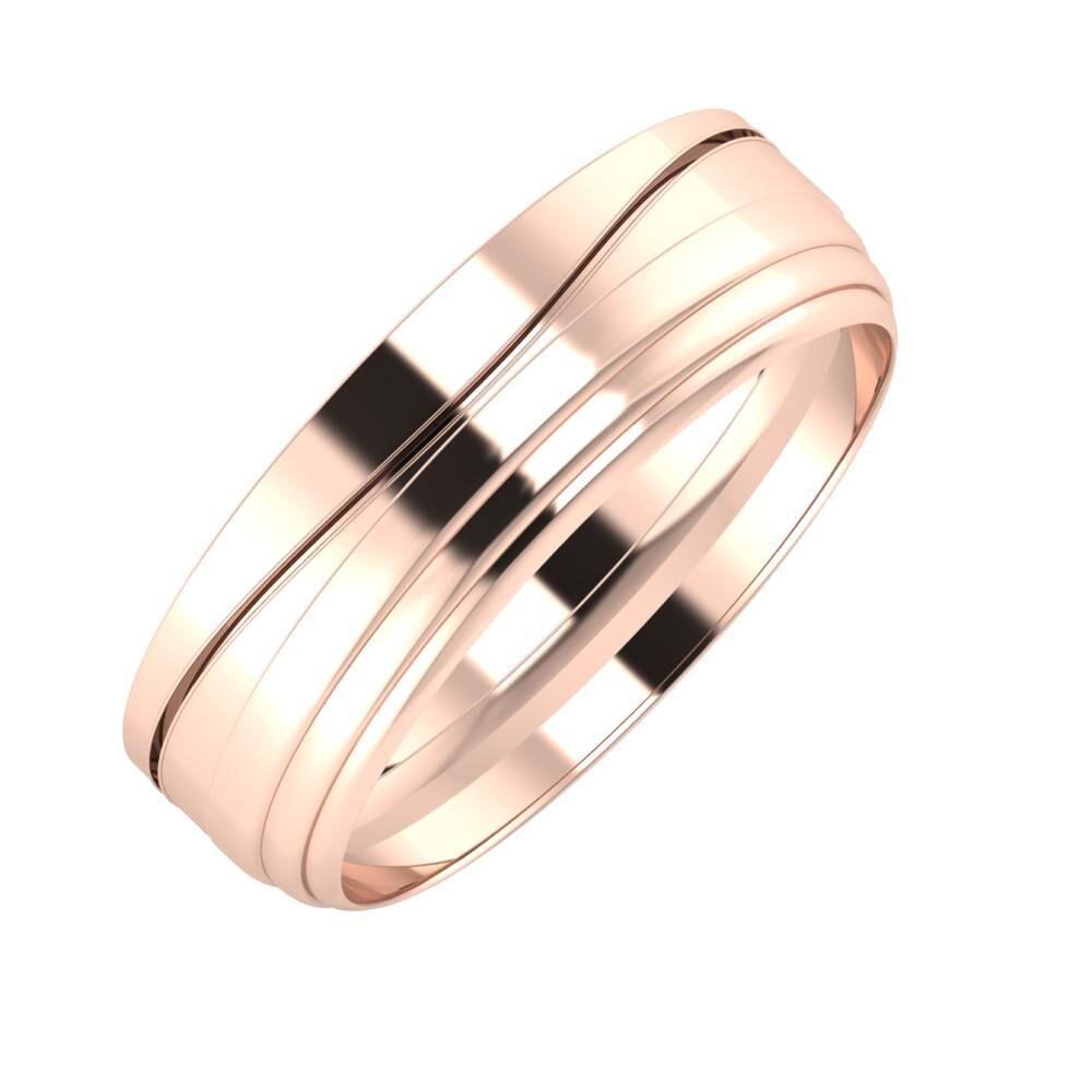 Adelinda - Aina 6mm 14 karátos rosé arany karikagyűrű