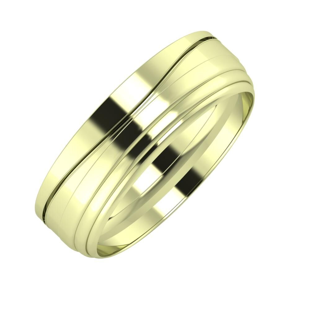 Adelinda - Aina 6mm 14 karátos zöld arany karikagyűrű