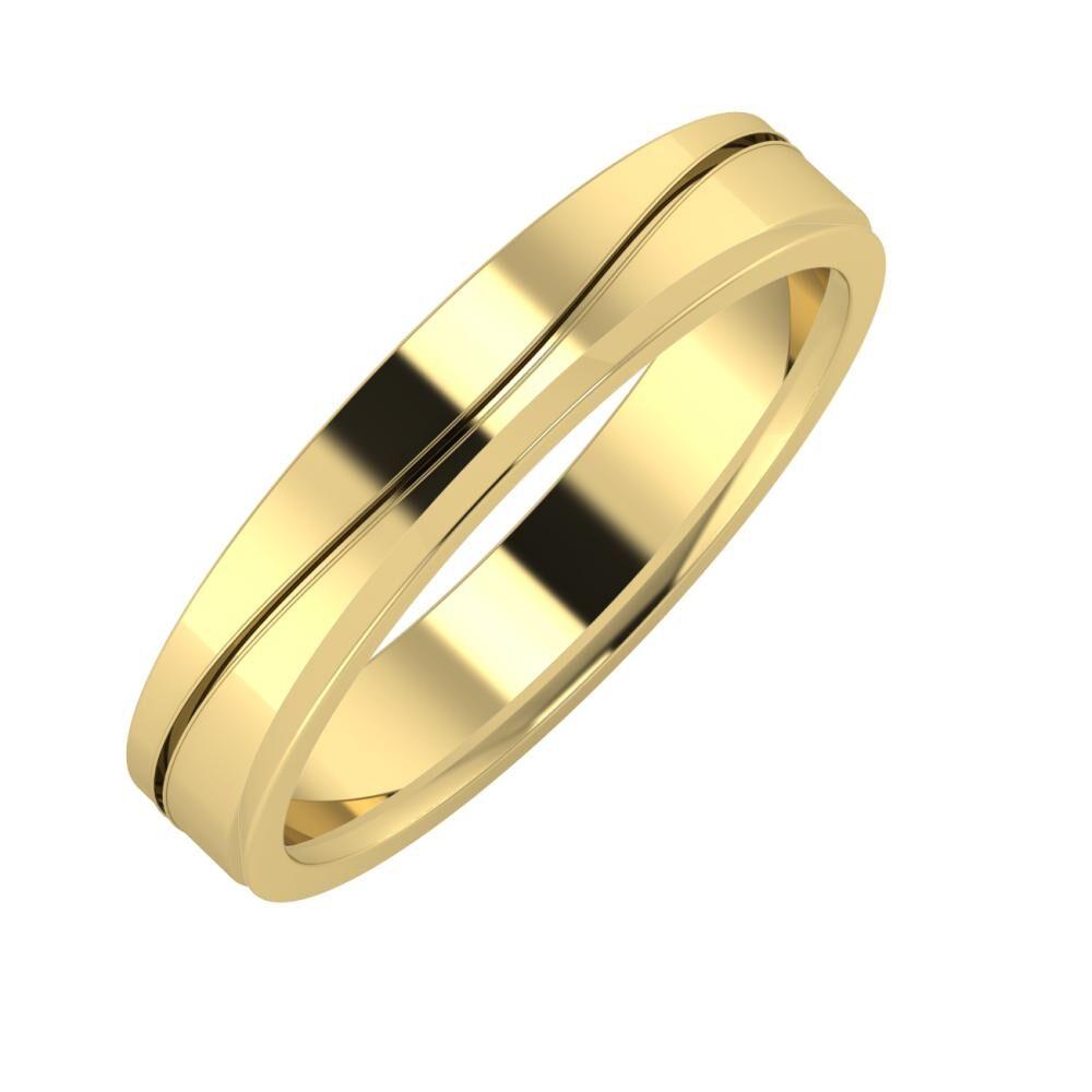 Adelinda - Aisa 4mm 14 karátos sárga arany karikagyűrű