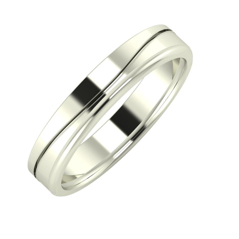 Adelinda - Aletta 4mm 18 karátos fehér arany karikagyűrű