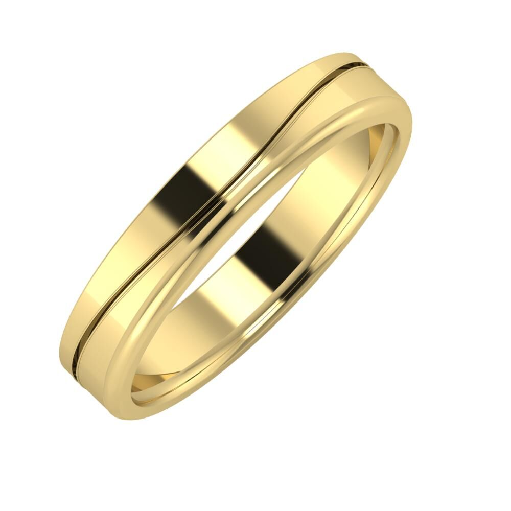 Adelinda - Aletta 4mm 14 karátos sárga arany karikagyűrű