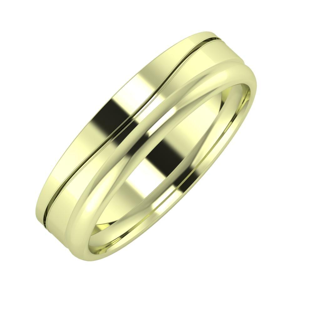 Adelinda - Alexa 5mm 14 karátos zöld arany karikagyűrű