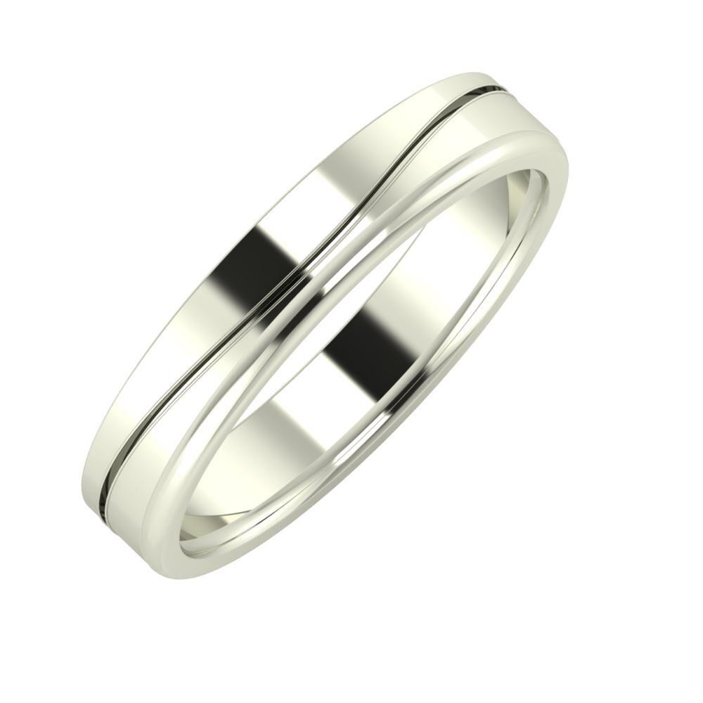 Adelinda - Alexandra 4mm 14 karátos fehér arany karikagyűrű