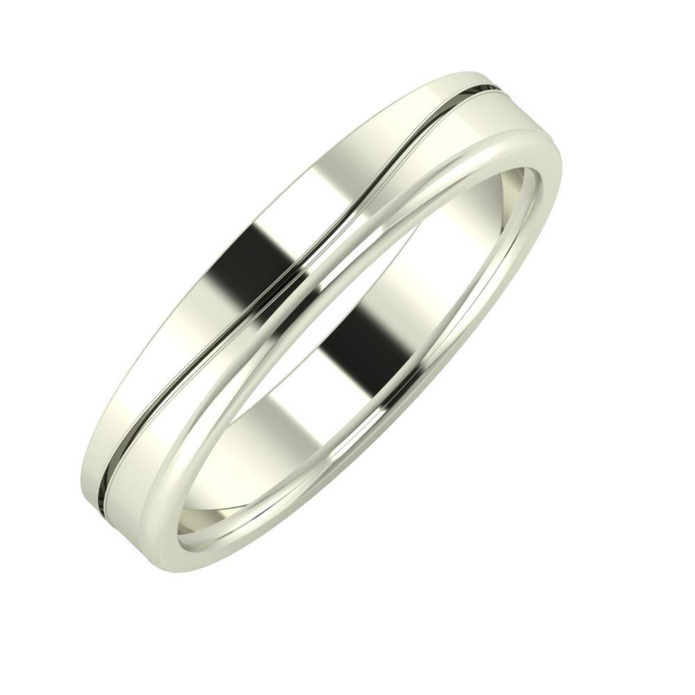 Adelinda - Alexandra 4mm 18 karátos fehér arany karikagyűrű