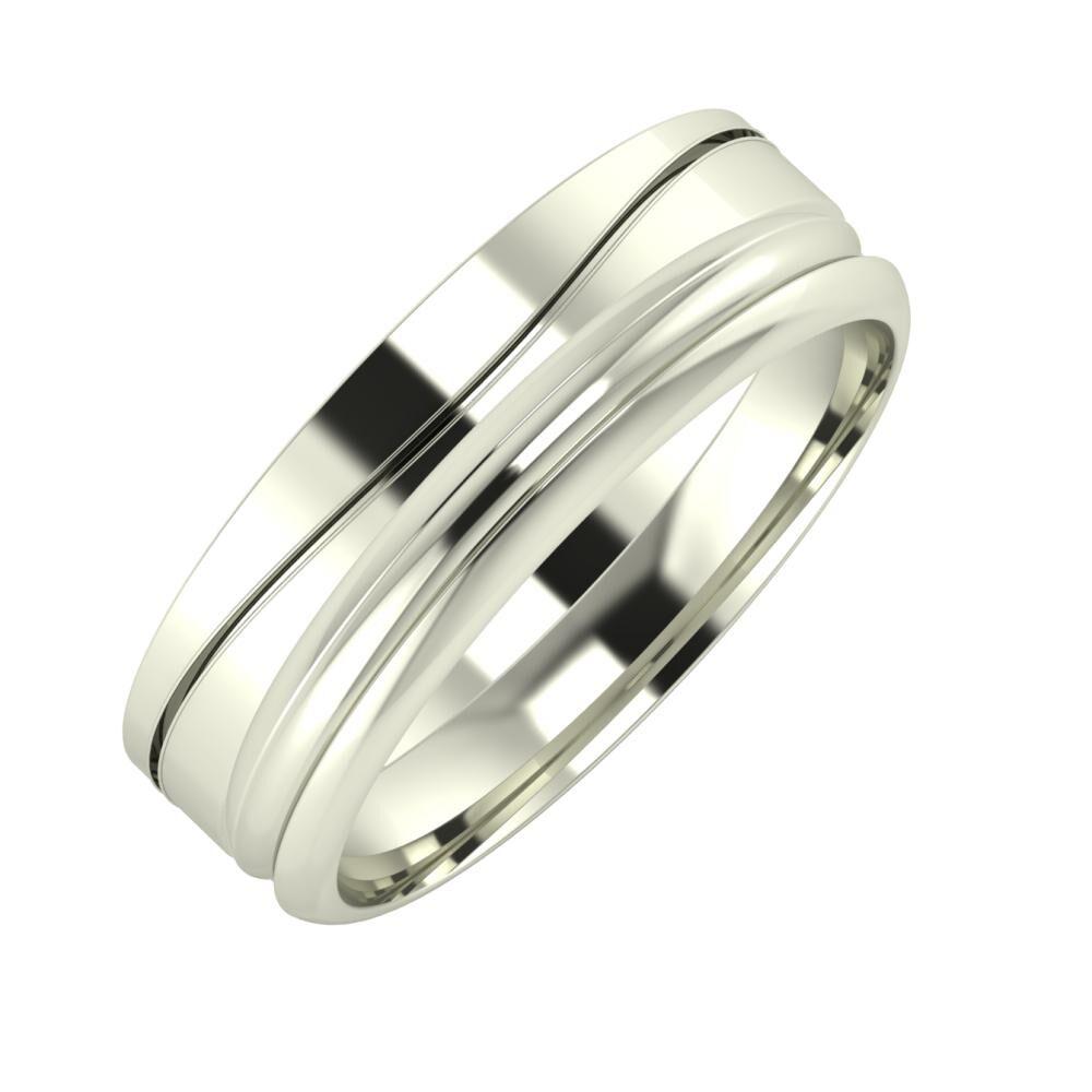 Adelinda - Alexandrin 6mm 14 karátos fehér arany karikagyűrű