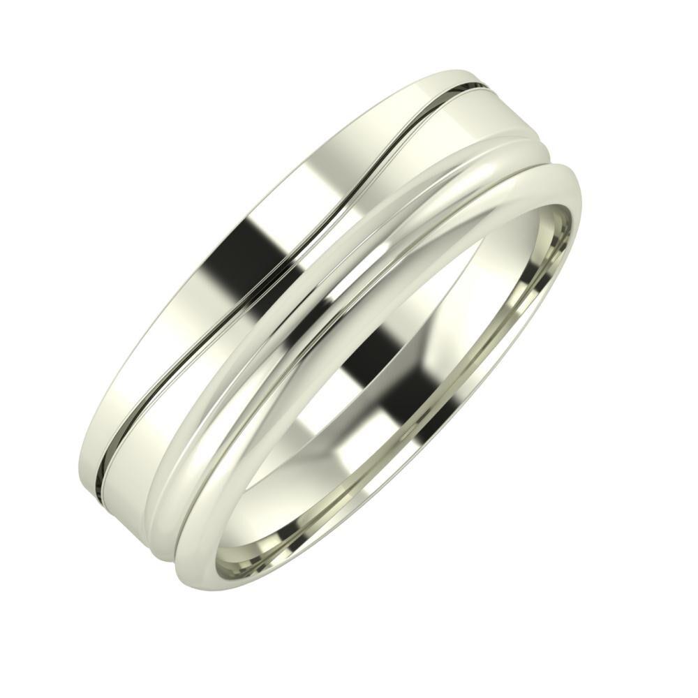 Adelinda - Alexandrin 6mm 18 karátos fehér arany karikagyűrű
