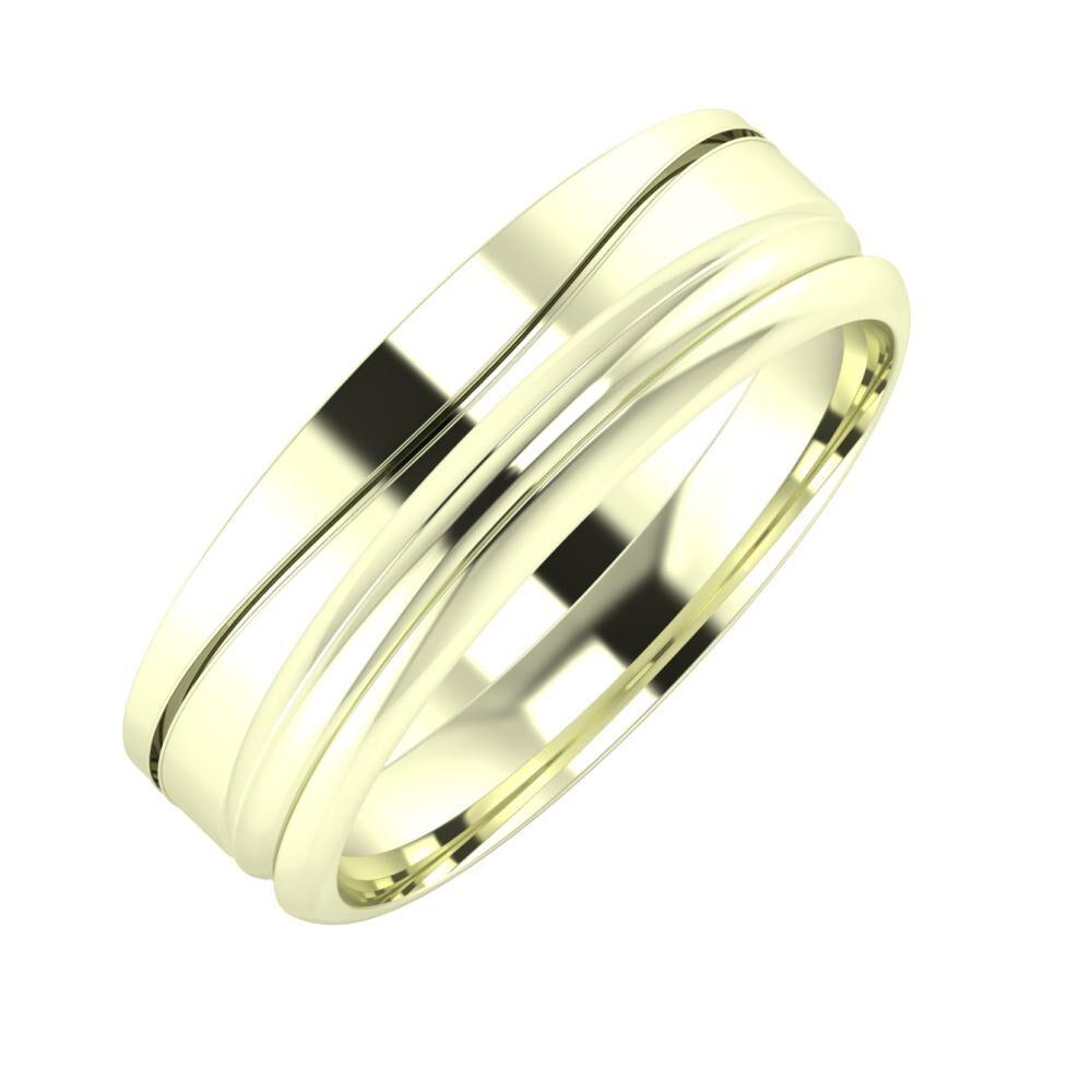 Adelinda - Alexandrin 6mm 22 karátos fehér arany karikagyűrű