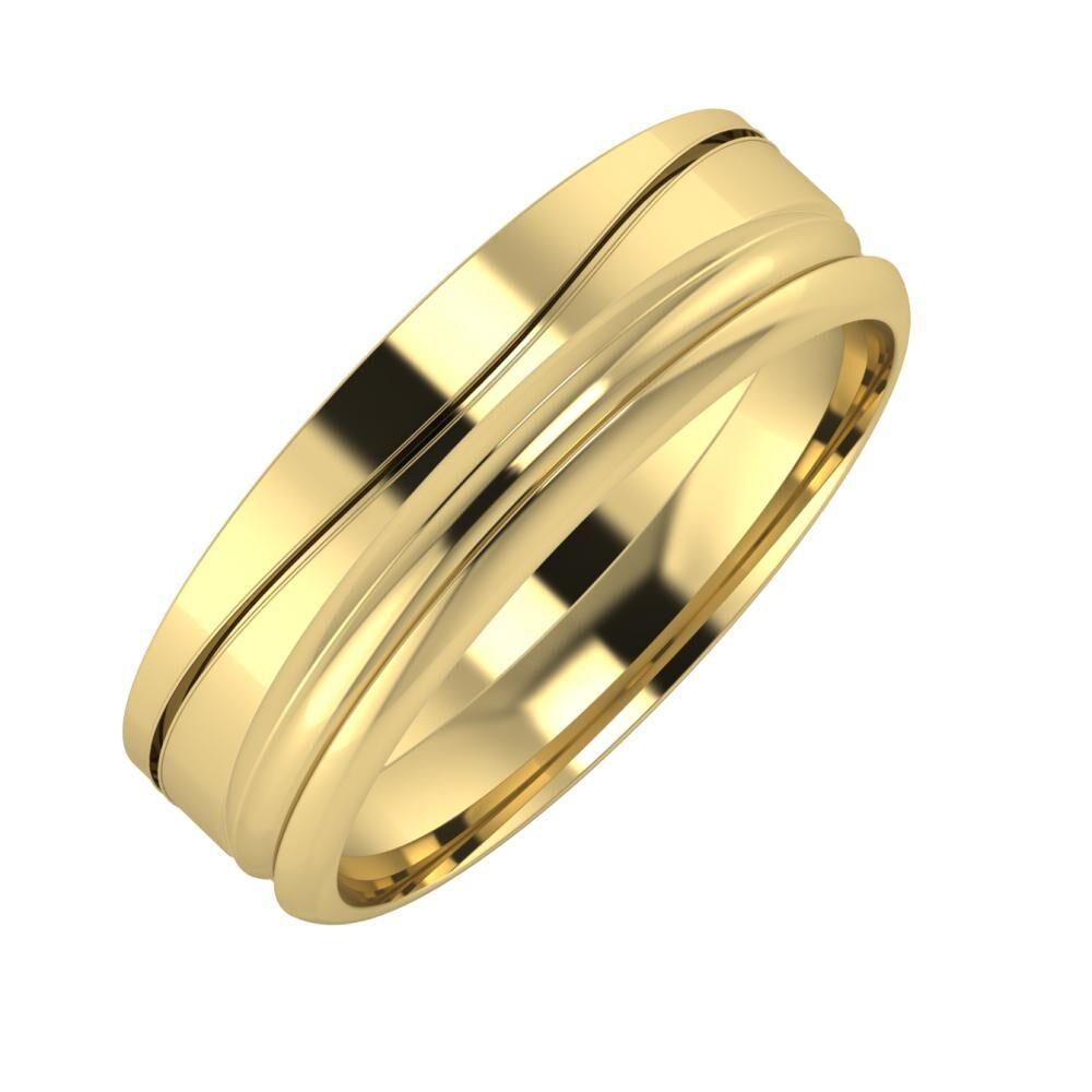 Adelinda - Alexandrin 6mm 14 karátos sárga arany karikagyűrű