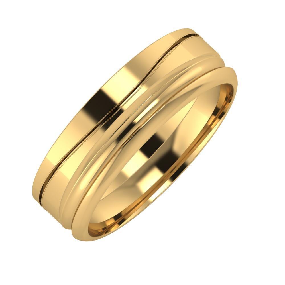 Adelinda - Alexandrin 6mm 22 karátos sárga arany karikagyűrű