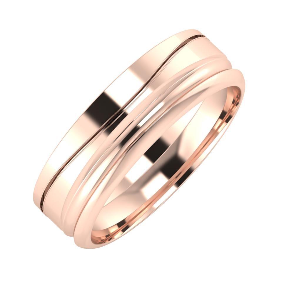 Adelinda - Alexandrin 6mm 14 karátos rosé arany karikagyűrű