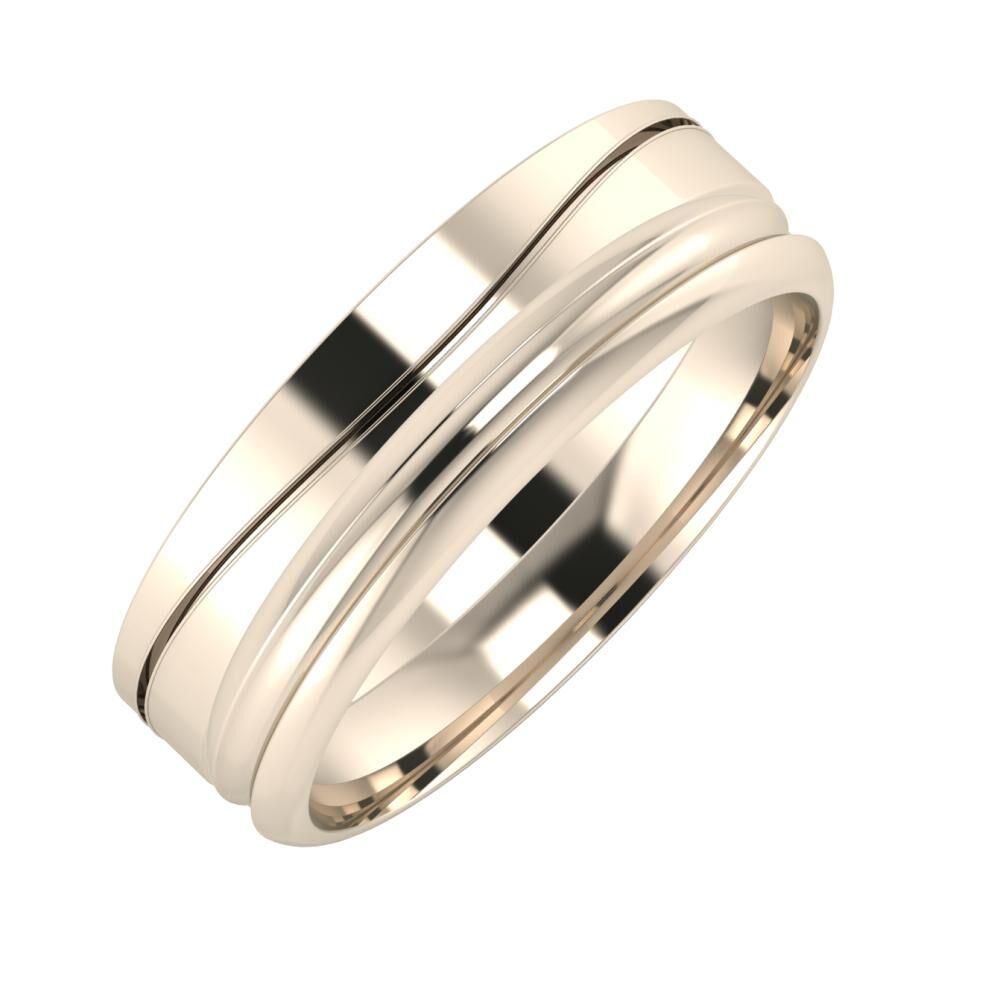Adelinda - Alexandrin 6mm 22 karátos rosé arany karikagyűrű
