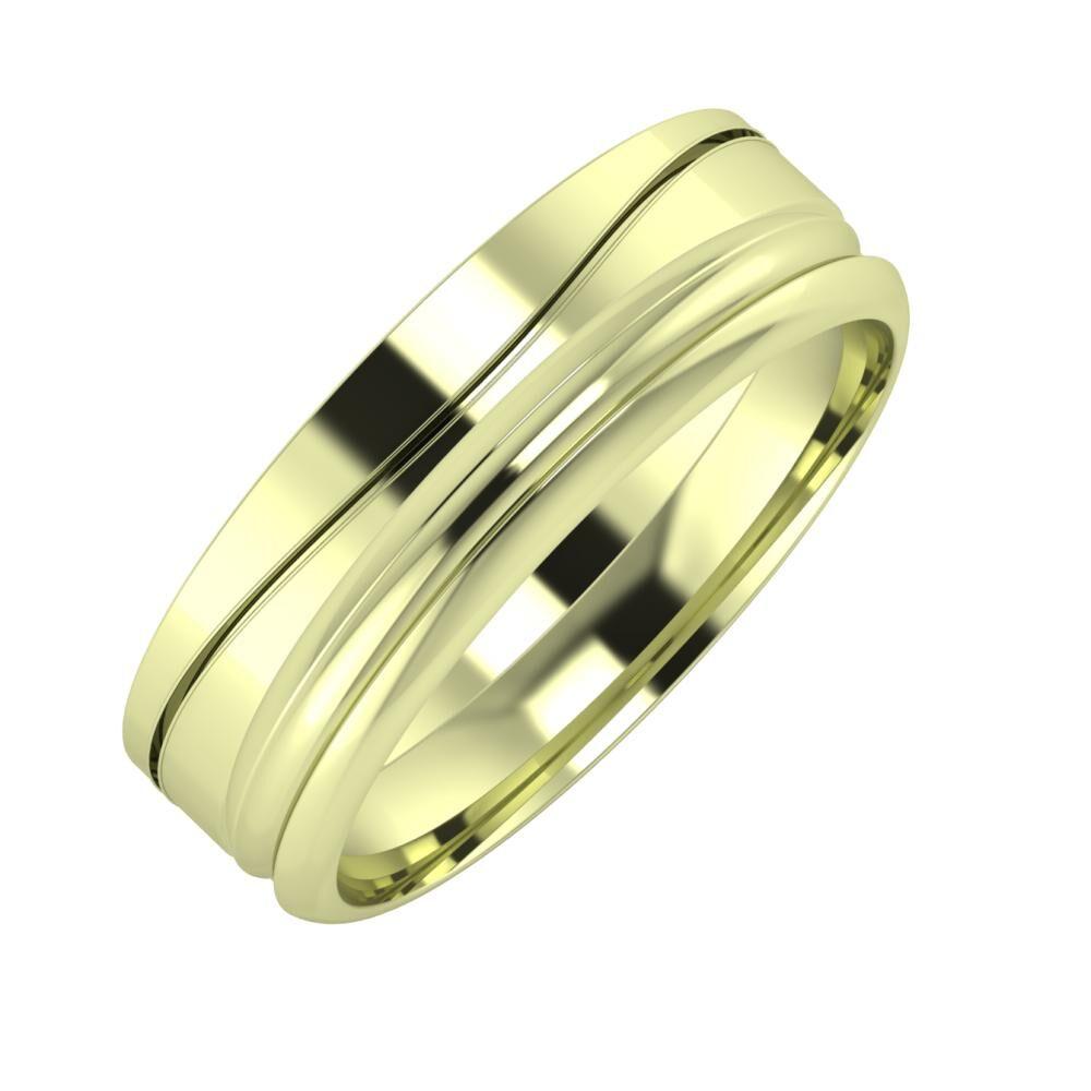 Adelinda - Alexandrin 6mm 14 karátos zöld arany karikagyűrű