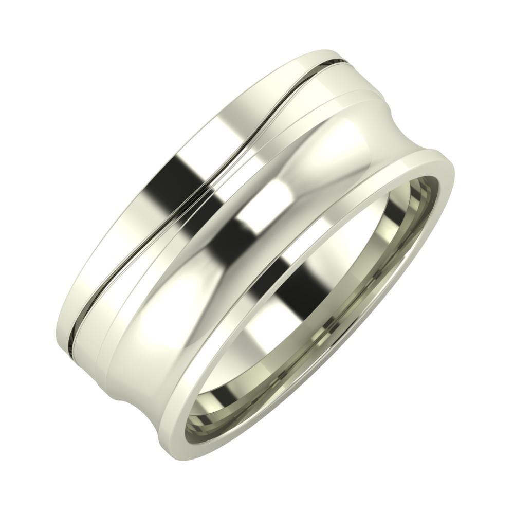 Adelinda - Alexandrina 8mm 18 karátos fehér arany karikagyűrű