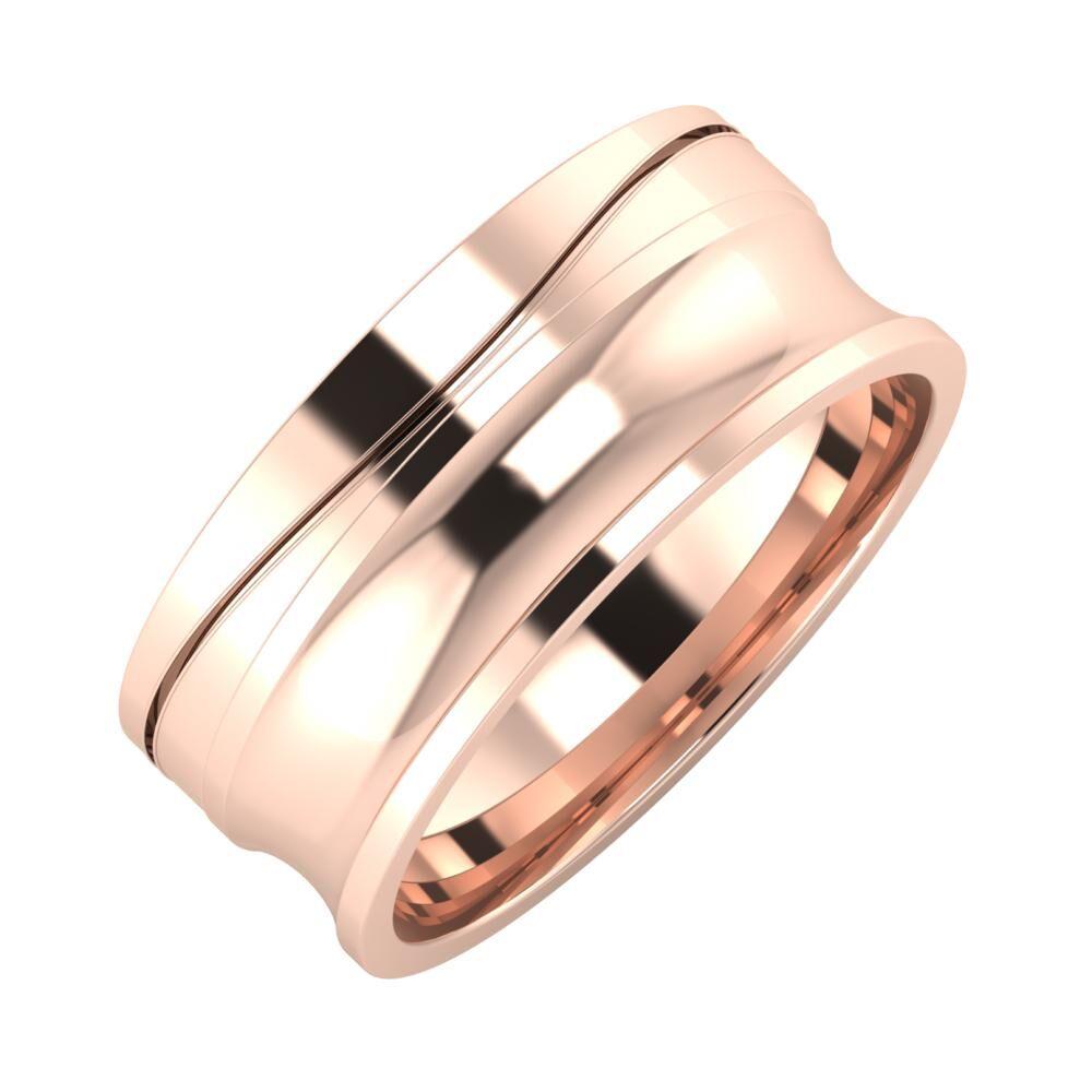 Adelinda - Alexandrina 8mm 14 karátos rosé arany karikagyűrű