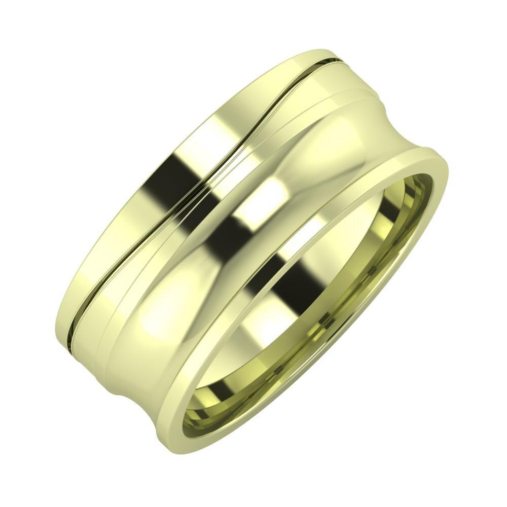 Adelinda - Alexandrina 8mm 14 karátos zöld arany karikagyűrű