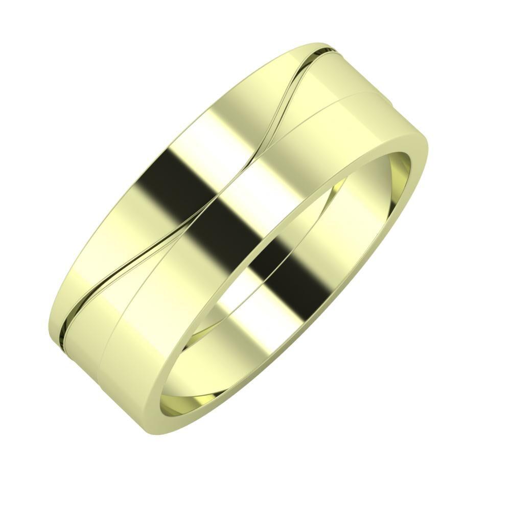 Adelinda - Adela 7mm 14 karátos zöld arany karikagyűrű