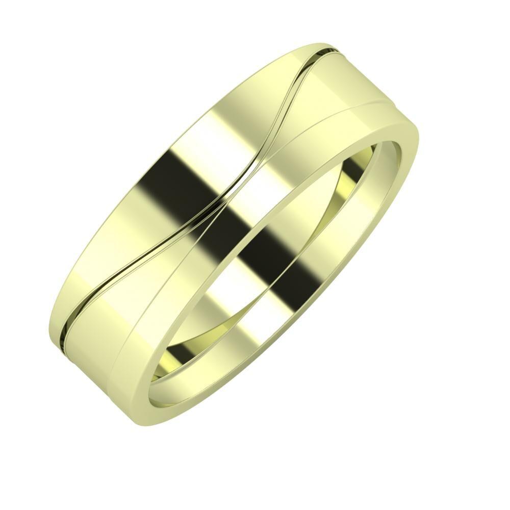 Adelinda - Adria 6mm 14 karátos zöld arany karikagyűrű