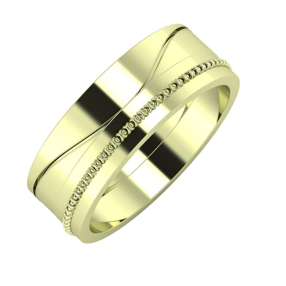 Adelinda - Afrodita 7mm 14 karátos zöld arany karikagyűrű