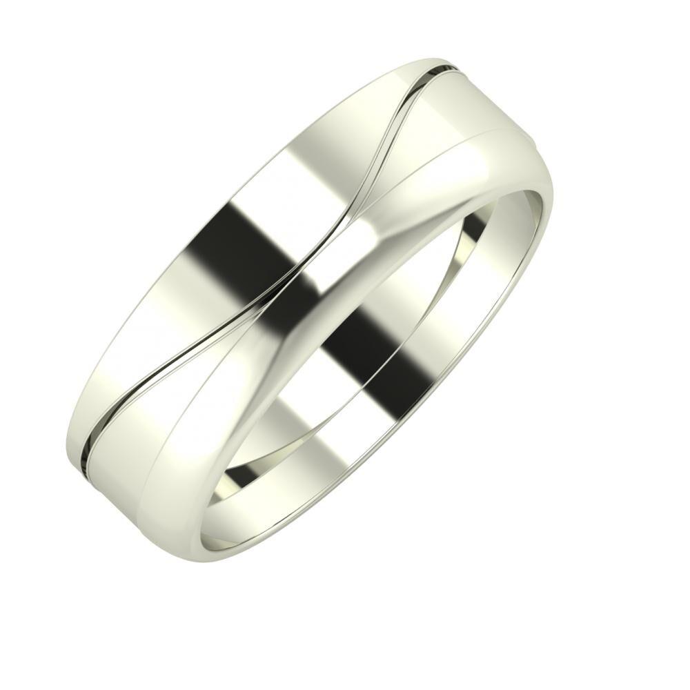 Adelinda - Ágosta 6mm 14 karátos fehér arany karikagyűrű
