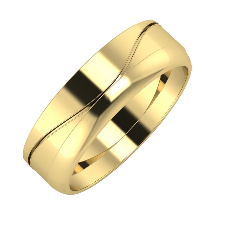 Adelinda - Ágosta 6mm 14 karátos sárga arany karikagyűrű
