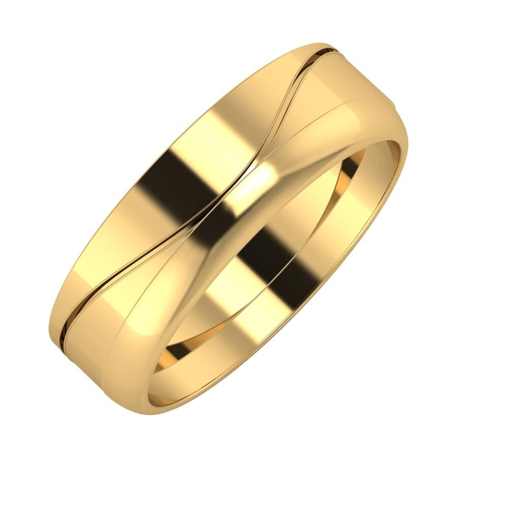 Adelinda - Ágosta 6mm 22 karátos sárga arany karikagyűrű