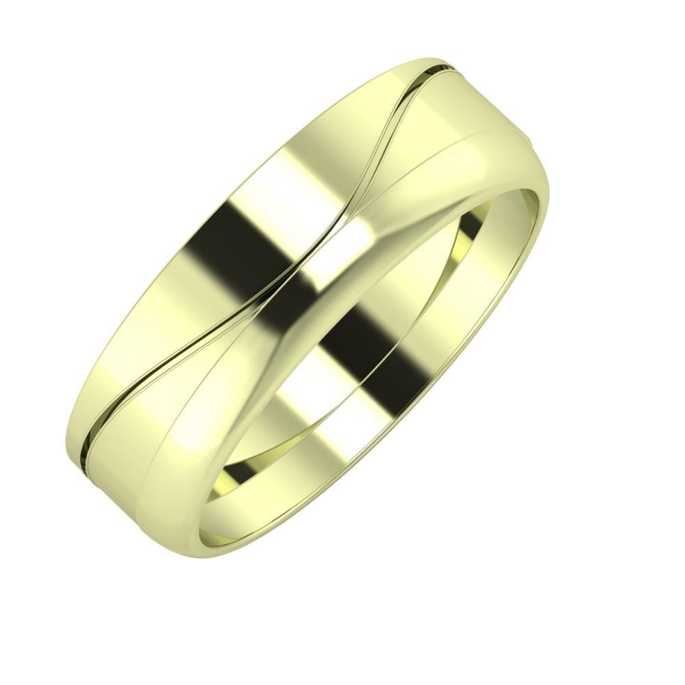 Adelinda - Ágosta 6mm 14 karátos zöld arany karikagyűrű