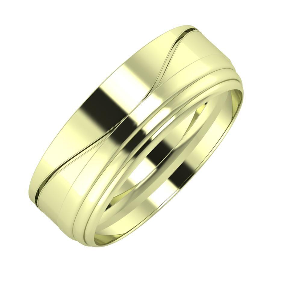 Adelinda - Aina 7mm 14 karátos zöld arany karikagyűrű
