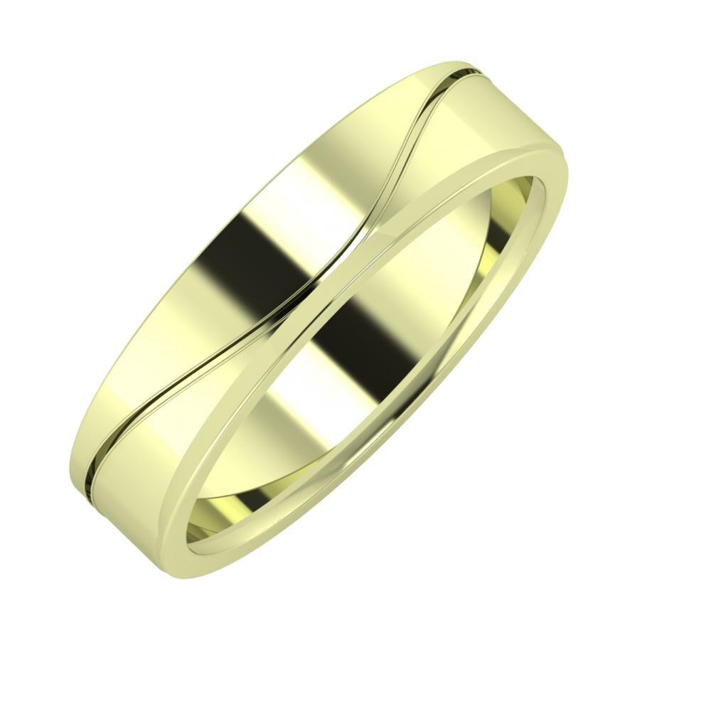 Adelinda - Aisa 5mm 14 karátos zöld arany karikagyűrű