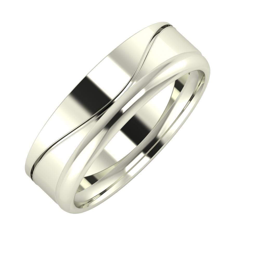 Adelinda - Alexa 6mm 18 karátos fehér arany karikagyűrű