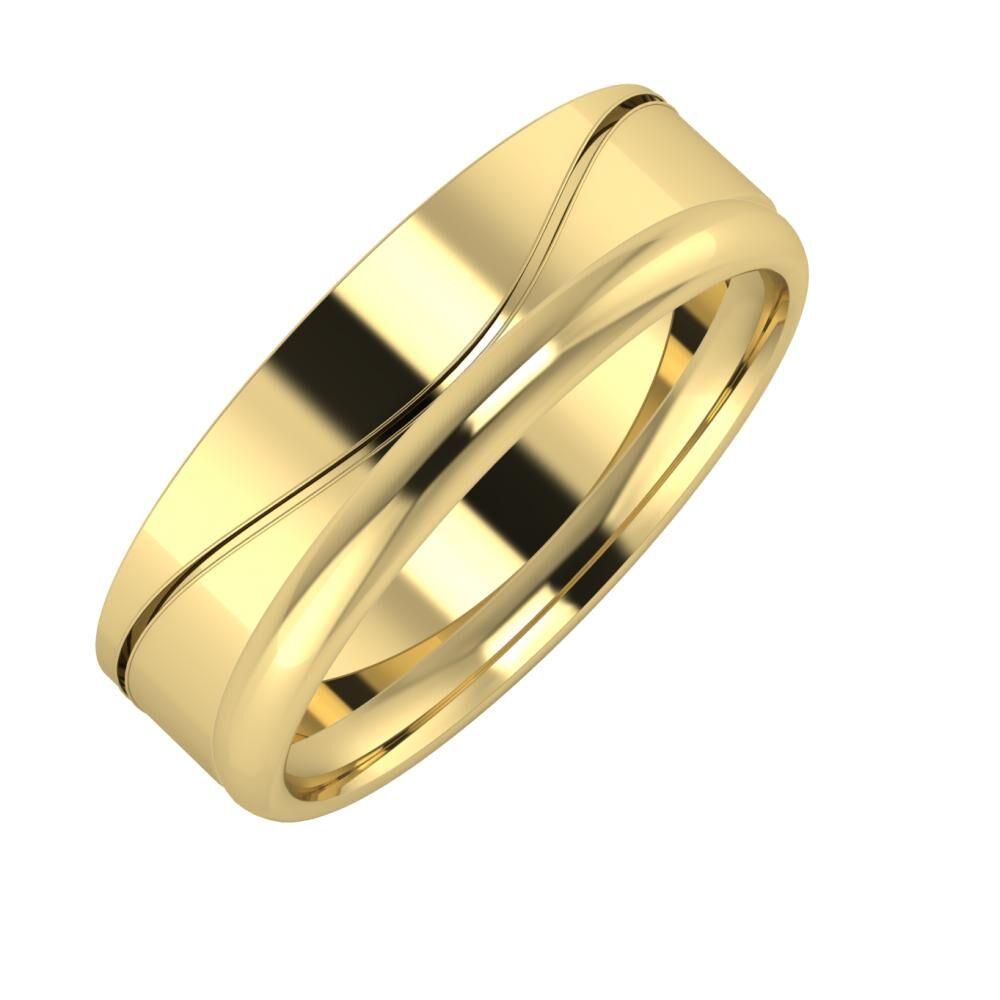 Adelinda - Alexa 6mm 14 karátos sárga arany karikagyűrű