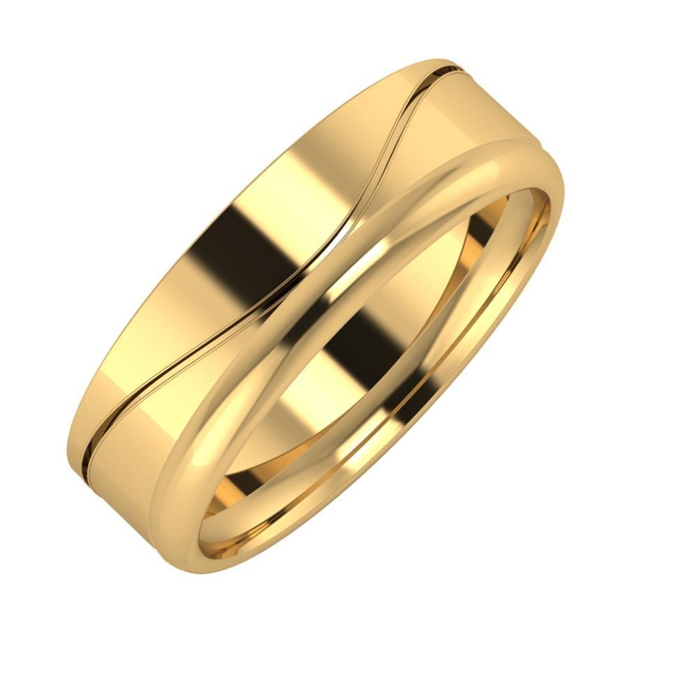 Adelinda - Alexa 6mm 22 karátos sárga arany karikagyűrű