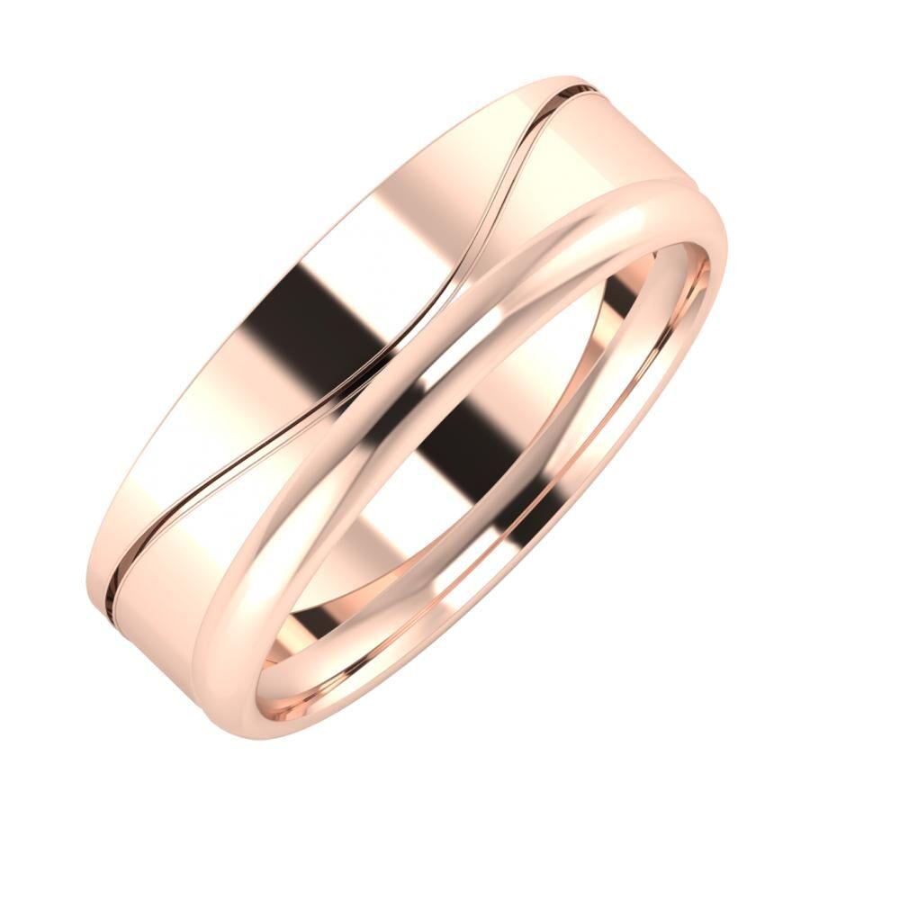 Adelinda - Alexa 6mm 14 karátos rosé arany karikagyűrű