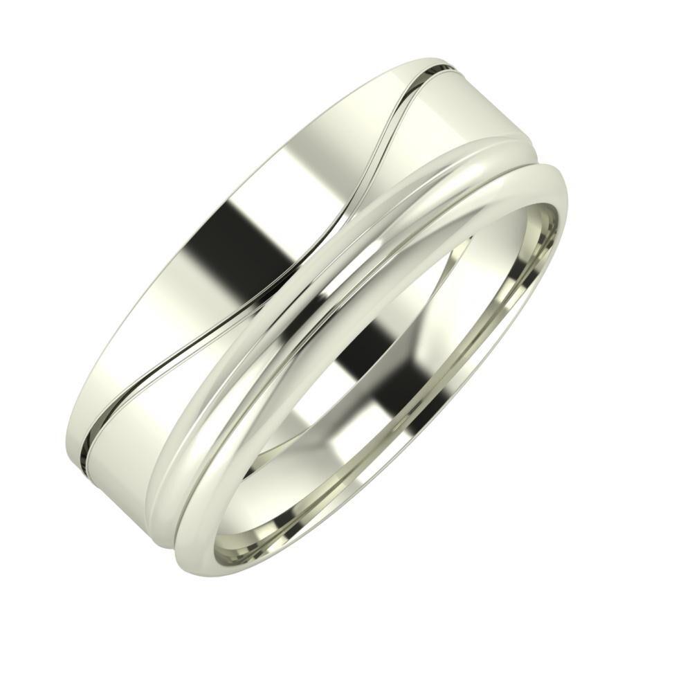 Adelinda - Alexandrin 7mm 14 karátos fehér arany karikagyűrű