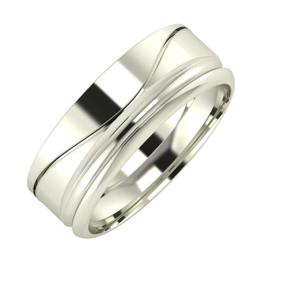Adelinda - Alexandrin 7mm 18 karátos fehér arany karikagyűrű