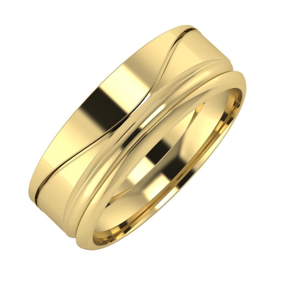 Adelinda - Alexandrin 7mm 14 karátos sárga arany karikagyűrű