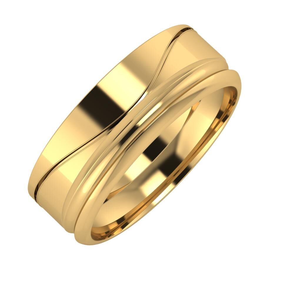 Adelinda - Alexandrin 7mm 22 karátos sárga arany karikagyűrű