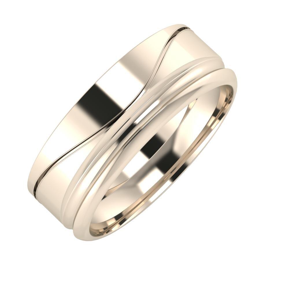 Adelinda - Alexandrin 7mm 22 karátos rosé arany karikagyűrű