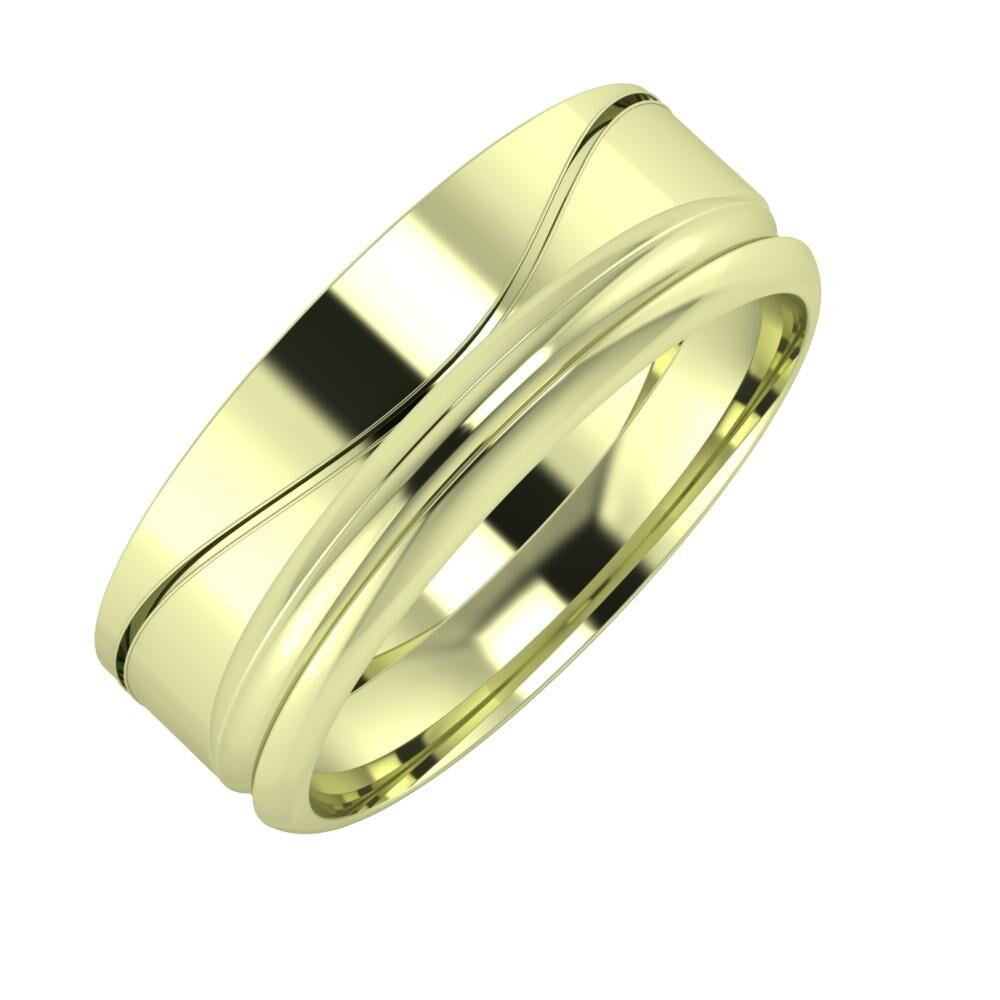 Adelinda - Alexandrin 7mm 14 karátos zöld arany karikagyűrű