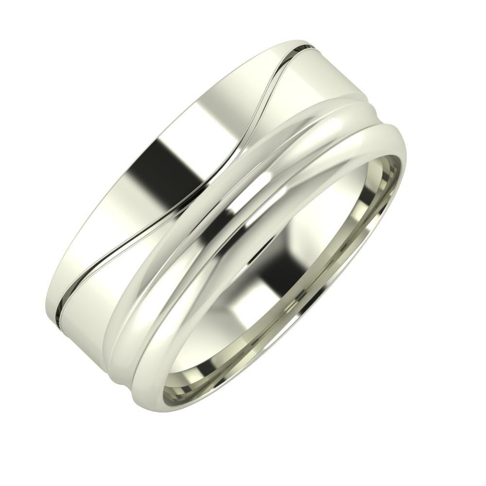 Adelinda - Alexandrin 8mm 14 karátos fehér arany karikagyűrű