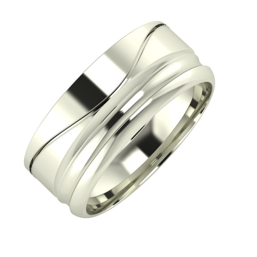 Adelinda - Alexandrin 8mm 18 karátos fehér arany karikagyűrű