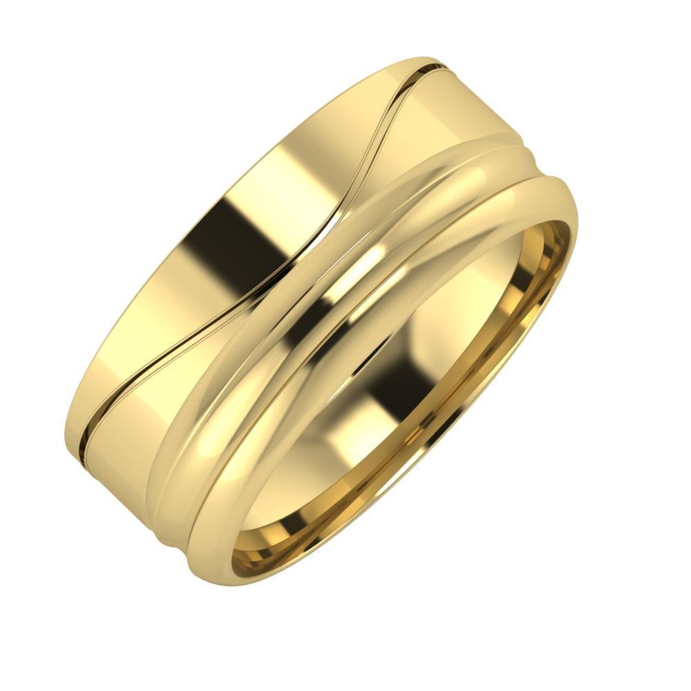 Adelinda - Alexandrin 8mm 14 karátos sárga arany karikagyűrű