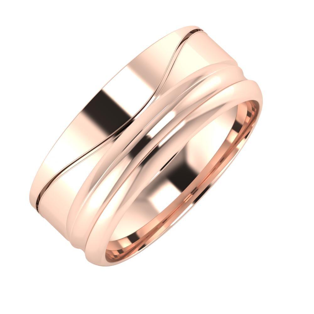 Adelinda - Alexandrin 8mm 14 karátos rosé arany karikagyűrű