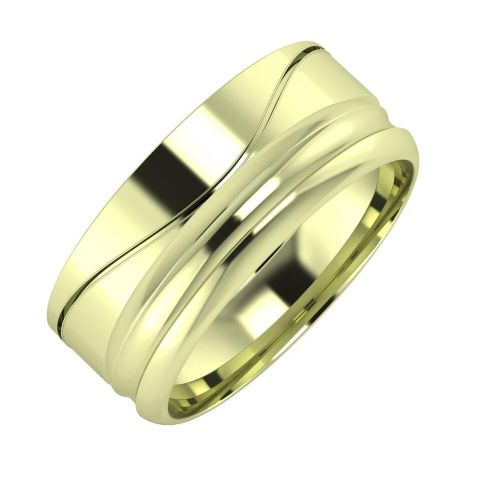 Adelinda - Alexandrin 8mm 14 karátos zöld arany karikagyűrű