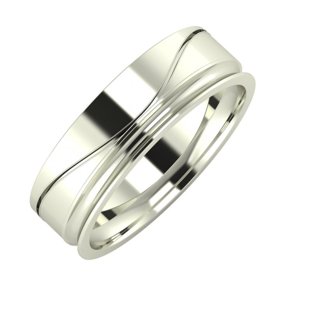 Adelinda - Alexandrina 6mm 14 karátos fehér arany karikagyűrű