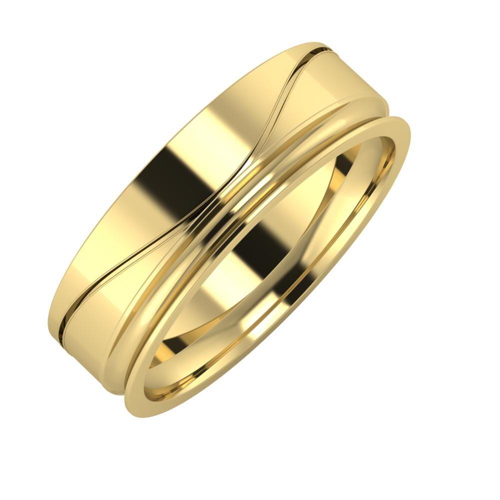 Adelinda - Alexandrina 6mm 14 karátos sárga arany karikagyűrű
