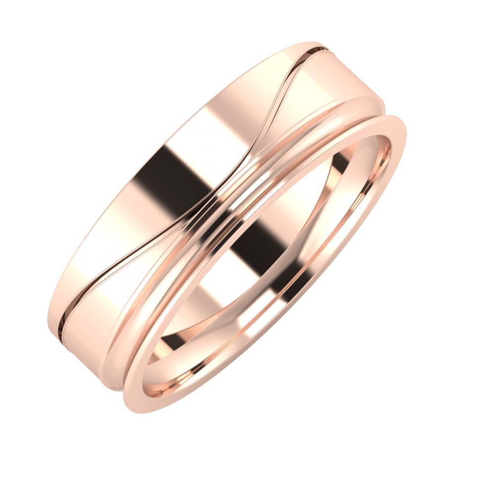Adelinda - Alexandrina 6mm 14 karátos rosé arany karikagyűrű