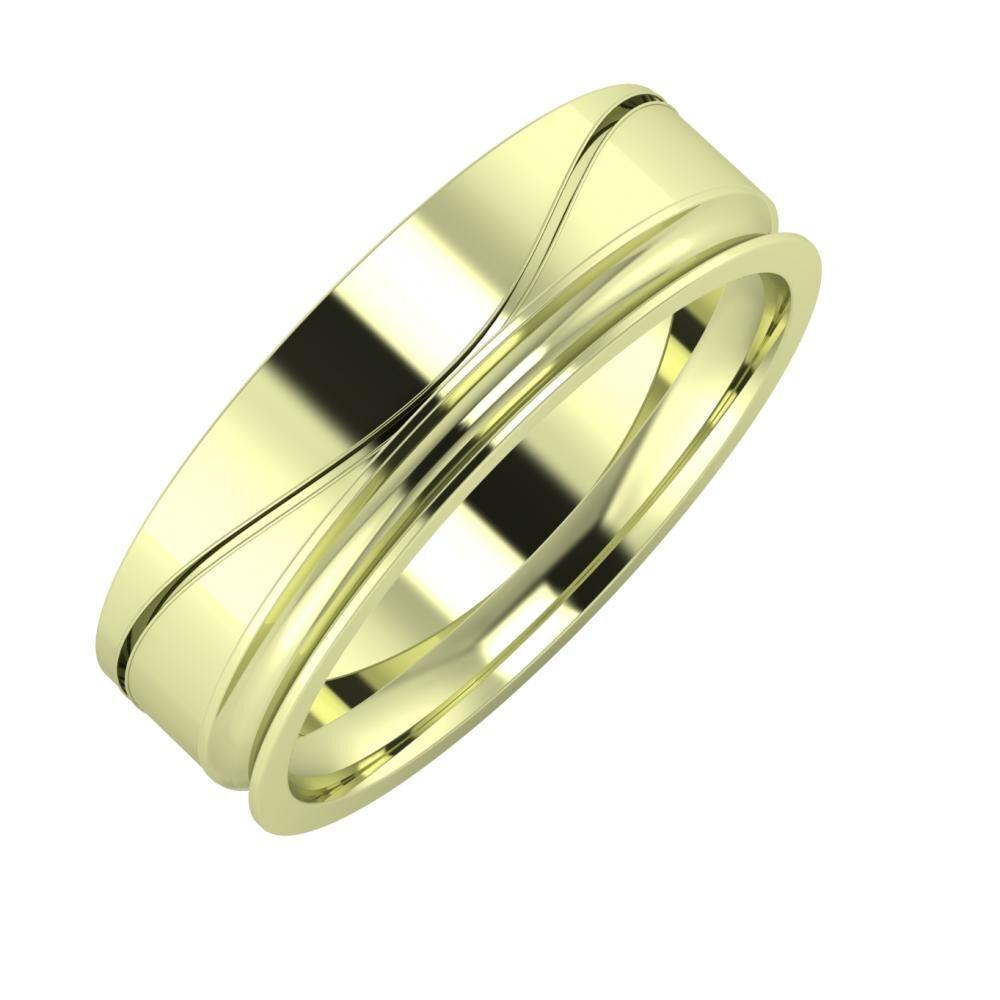 Adelinda - Alexandrina 6mm 14 karátos zöld arany karikagyűrű