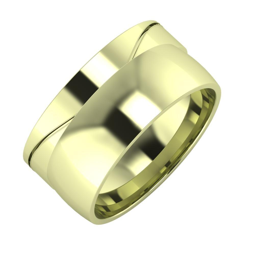 Adelinda - Alma 10mm 14 karátos zöld arany karikagyűrű