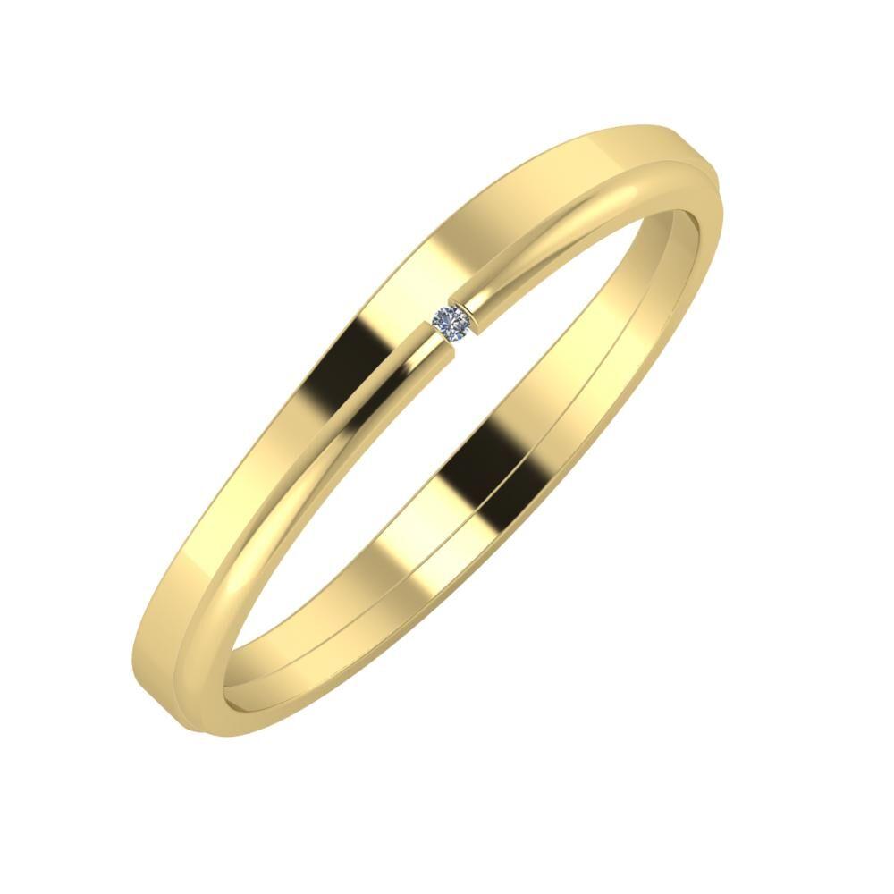 Adria - Adalind 3mm 14 karátos sárga arany karikagyűrű